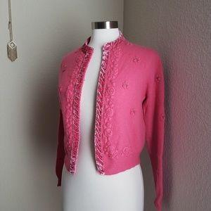 CAbi pink velvet crochet embelished cardigan